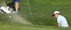 June 22, 2018 - Cromwell, Connecticut, United States - Kelly Kraft hits out of a greenside bunker on the 18th hole during the second round of the Travelers Championship at TPC River Highlands. (Credit Image: © Debby Wong via ZUMA Wire)