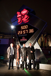 © under license to London News Pictures. 14/03/2011. Unveiling ceremony of Omega Olympic Games countdown clock.The clock is in London's Trafalgar Square and will remain until the opening of the 2012 games. (from left) London Mayor Boris Johnson, Heptathlete Jessica Ennis, chairman of the London Organising Committee for the Olympic Games Lord Sebastian Coe and Omega President Stephen Urquart. Photo credit should read BETTINA STRENSKE/LNP