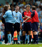 Photo. Jed Wee, Digitalsport<br /> Lucas Radebe Testimonial, Leeds United XI v International XI, 02/05/2005.<br /> Gunnar Halle (2nd R) shakes hands with Ally McCoist