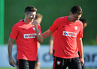 ARLAMOW, POLAND - MAY 30: Robert Lewandowski and Wojciech Szczesny during a training session of the Polish national team at Arlamow Hotel during the second phase of preparation for the 2018 FIFA World Cup Russia on May 30, 2018 in Arlamow, Poland. MB Media