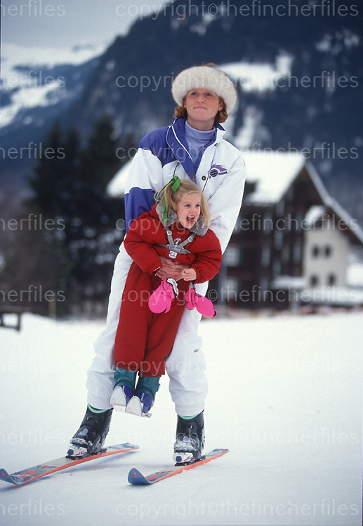 Sarah, Duchess of York seen with her daughter Princess Beatrice during a ski holiday in Klosters, Switzerland in 1992. Photograph by Jayne Fincher