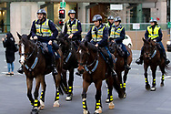 Mounted Police seen riding across Oxford St on their way to the Protest at the Archibald Fountain in Hyde Park on 02 June, 2020 in Sydney, Australia. Black Lives Matter protest was arranged following the killing of an unarmed black man George Floyd at the hands of a police officer in Minneapolis, Minnesota. (Photo by Pete Dovgan/ Speed Media)