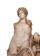 Detail of a second Century Roman statue of Apollo excavated from the Theatre of Carthage. The Bardo National Museum, Tunis, Tunisia. Inv No C939. Against a white background. .<br /> <br /> If you prefer to buy from our ALAMY STOCK LIBRARY page at https://www.alamy.com/portfolio/paul-williams-funkystock/greco-roman-sculptures.html . Type -    BARDO    - into LOWER SEARCH WITHIN GALLERY box - Refine search by adding a subject, place, background colour, museum etc.<br /> <br /> Visit our CLASSICAL WORLD HISTORIC SITES PHOTO COLLECTIONS for more photos to download or buy as wall art prints https://funkystock.photoshelter.com/gallery-collection/The-Romans-Art-Artefacts-Antiquities-Historic-Sites-Pictures-Images/C0000r2uLJJo9_s0c