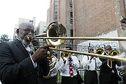 July 24, 2012-New York, NY:  Sons of Thunder perform at the official Slyvia Woods Harlem Community memorial and send off through the streets of Harlem. Sylvia Woods was an American restaurateur who co-founded the landmark restaurant Sylvia's in Harlem on Lenox Avenue, New York City with her husband, Herbert Woods, in 1962 (Photo by Terrence Jennings)