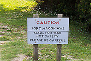 Sign at Fort Macon - an American Civil War Fort in Fort Macon State Park on the eastern end of Emerald Isle and Bogue Banks at Beaufort Inlet, North Carolina