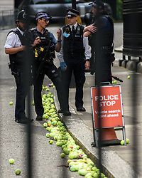 © Licensed to London News Pictures. 26/06/2021. London, UK.  Tennis balls thrown at police litter Downing Street. Anti-vaccination and anti-lockdown demonstrators converge on Downing Street after a day of protest in Central London.  Photo credit: Guilhem Baker/LNP