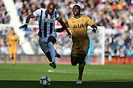 Moussa Sissoko of Tottenham Hotspur challenges Allan Nyom of West Brom (l).  Premier league match, West Bromwich Albion v Tottenham Hotspur at the Hawthorns stadium in West Bromwich, Midlands on Saturday 15th October 2016. pic by Andrew Orchard, Andrew Orchard sports photography.