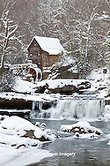 67395-04313 Glade Creek Grist Mill in winter, Babcock State Park, WV