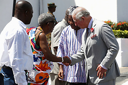 The Prince of Wales is greeted, during a visit to Osu Castle, also known as Fort Christiansborg in Accra, Ghana, on day four of his trip to west Africa with the Duchess of Cornwall.