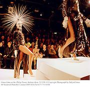 Grace Jones at the  Philip Treacy fashion show. 21/2/99. © Copyright Photograph by Dafydd Jones<br />66 Stockwell Park Rd. London SW9 0DA Tel 0171 733 0108