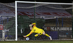 Christy Pym of Peterborough United can't prevent Ipswich Town from opening the scoring - Mandatory by-line: Joe Dent/JMP - 09/02/2021 - FOOTBALL - Weston Homes Stadium - Peterborough, England - Peterborough United v Ipswich Town - Sky Bet League One
