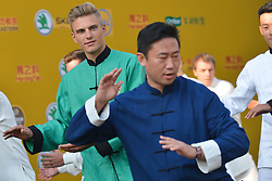 October 28, 2017 - Shanghai, China - Marcel Kittel (in Green) from QUICK STEP FLOORS team during Tai chi activity at the 1st TDF Shanghai Criterium 2017 - Media Day..On Saturday, 28 October 2017, in Shanghai, China. (Credit Image: © Artur Widak/NurPhoto via ZUMA Press)