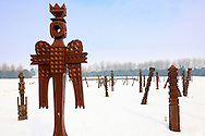 Battle of Mohacs 1526 memorial park in the snow - Mohácsi Történelmi Emlékhely ,  Hungary - Stock photos .<br /> <br /> Visit our HUNGARY HISTORIC PLACES PHOTO COLLECTIONS for more photos to download or buy as wall art prints https://funkystock.photoshelter.com/gallery-collection/Pictures-Images-of-Hungary-Photos-of-Hungarian-Historic-Landmark-Sites/C0000Te8AnPgxjRg