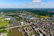 Nederland, Gelderland, Arnhem, 29-05-2019; zicht op de Nederrijn en de binnenstad, Nelson Mandelabrug, Eusebiuskerk, het nieuwe NS-station en omgeving.<br /> View of the Lower Rhine and the city center, Nelson Mandela bridge, Eusebius church, the new NS station and surroundings.<br /> <br /> luchtfoto (toeslag op standard tarieven);<br /> aerial photo (additional fee required);<br /> copyright foto/photo Siebe Swart
