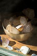 Healing crystals in bowl on shop window, Pisco Elqui, Chile