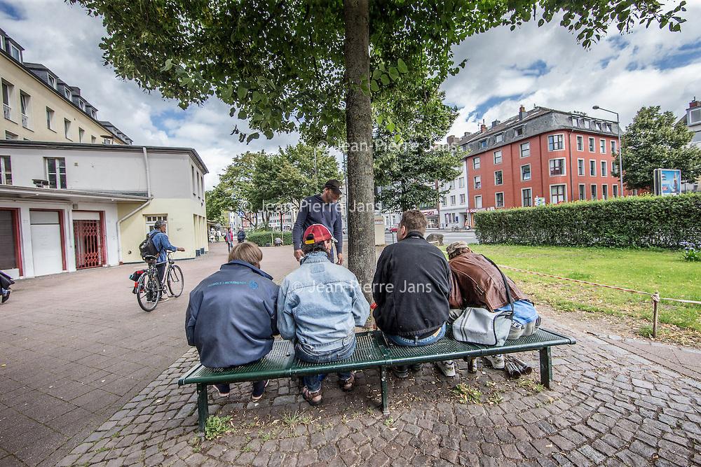 Duitsland, Aken, 10 augustus 2016.<br /> Reportage over verslaafden op Kaiserplatz in Aken.<br /> <br /> Reportage on drug addicts on Kaiserplatz in Aachen, Germany.<br /> <br /> Foto: Jean-Pierre Jans