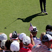 Ryder Cup 2016. Day One. Dustin Johnson of the United States practices his swing before teeing off at the first hole in the Friday afternoon four-ball competition during the Ryder Cup at Hazeltine National Golf Club on September 30, 2016 in Chaska, Minnesota.  (Photo by Tim Clayton/Corbis via Getty Images)