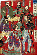 Section of triptych of world leaders with labels such as Emperor of Italy, Emperor of Austria, Queen of Madagarasu, King of Turkey, 1879.  Chikanobu Hashimoto (1838-1812) Japanese artist.