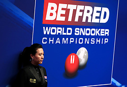 Match referee Peggy Li during day three of the 2018 Betfred World Championship at The Crucible, Sheffield. PRESS ASSOCIATION Photo. Picture date: Monday April 23, 2018. See PA story SNOOKER World. Photo credit should read: Simon Cooper/PA Wire