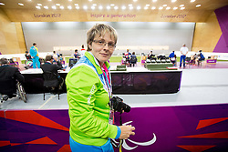 Coach Polonca Sladic when Damjan Pavlin of Slovenia competes during the Men's R5-10m Air Rifle Prone shooting Final during Day 4 of the Summer Paralympic Games London 2012 on September 1, 2012, in Royal Artillery Barracks, London, Great Britain. (Photo by Vid Ponikvar / Sportida.com)