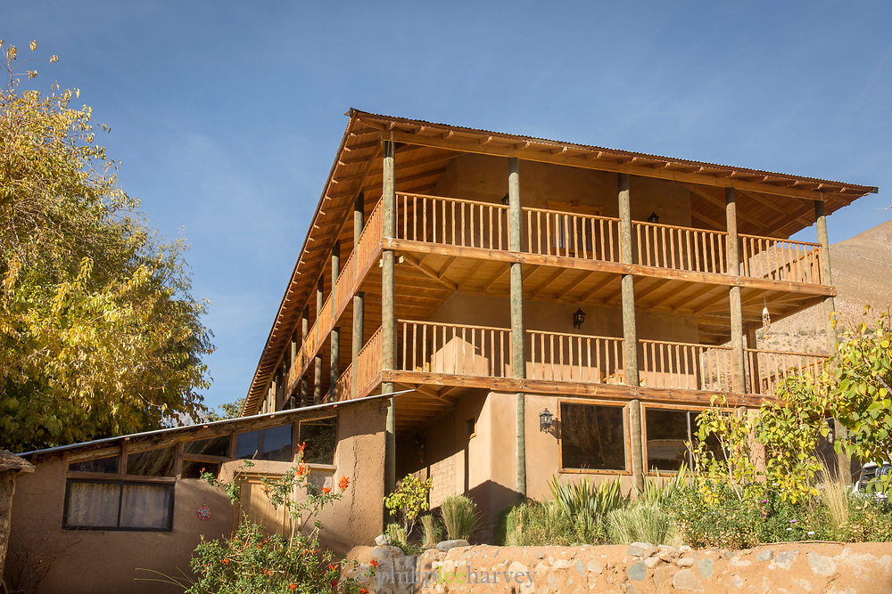 Low angle view of local hotel, Pisco Elqui, Chile