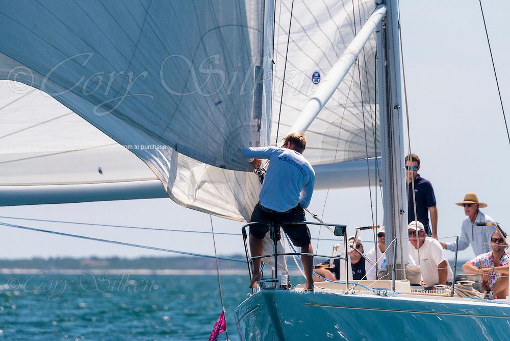 Weatherly sailing in the Nantucket 12 Metre Class Regatta.