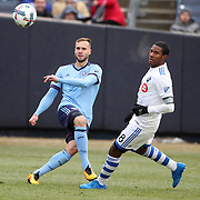NEW YORK, NEW YORK - March 18:  Maxime Chanot #4 of New York City FC clears while challenged by Patrice Bernier #8 of Montreal Impact during the New York City FC Vs Montreal Impact regular season MLS game at Yankee Stadium on March 18, 2017 in New York City. (Photo by Tim Clayton/Corbis via Getty Images)