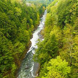 The Ottaquechee River as it flows through Quechee Gorge in Quechee, Vermont.