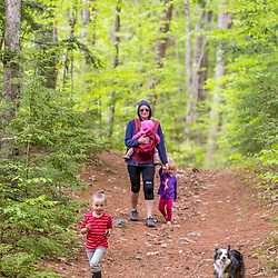 A woman walks with her three young daughters in the woods at the Orris Falls Preserve in South Berwick, Maine.
