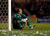 Photo: Jed Wee.<br /> Middlesbrough v Charlton Athletic. The FA Cup. 12/04/2006.<br /> <br /> Middlesbrough goalkeeper Mark Schwarzer sits disconsolate after conceding an own goal.
