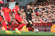 Andrew Robertson of Hull City makes a break up the wing. Premier League match, Liverpool v Hull City at the Anfield stadium in Liverpool, Merseyside on Saturday 24th September 2016.<br /> pic by Chris Stading, Andrew Orchard sports photography.