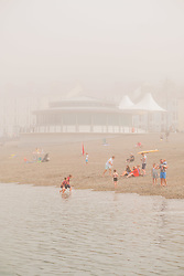 © Licenced to London News Pictures<br /> Aberystwyth,UK. 8/07/2018. A misty morning in Aberystwyth, as the sea mist rolls in off Cardigan Bay to take the edge off the temperatures on the west wales coast. <br /> Over much of the UK  the prolonged  heat wave and very dry weather continues unbroken, with temperatures expected to climb again towards the end of the week. Photo credit Keith Morris/LNP