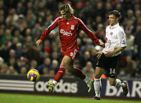 Photo: Paul Greenwood/Sportsbeat Images.<br />Liverpool v Fulham. The FA Barclays Premiership. 10/11/2007.<br />The pace of Liverpools Fernando Torres (L) leaves Chris Baird trailing