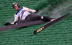 Primoz Peterka felt during his last jump in his very successful career, he is one of the best ski jumpers in history, on July 2, 2011, in Kranj, Slovenia. (Photo by Vid Ponikvar / Sportida)