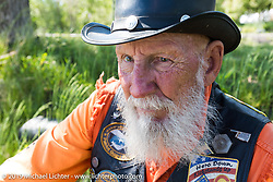 79-year old Bob Dobbs in Steamboat Springs during the Rocky Mountain Regional HOG Rally, Colorado, USA. Saturday June 10, 2017. Photography ©2017 Michael Lichter.