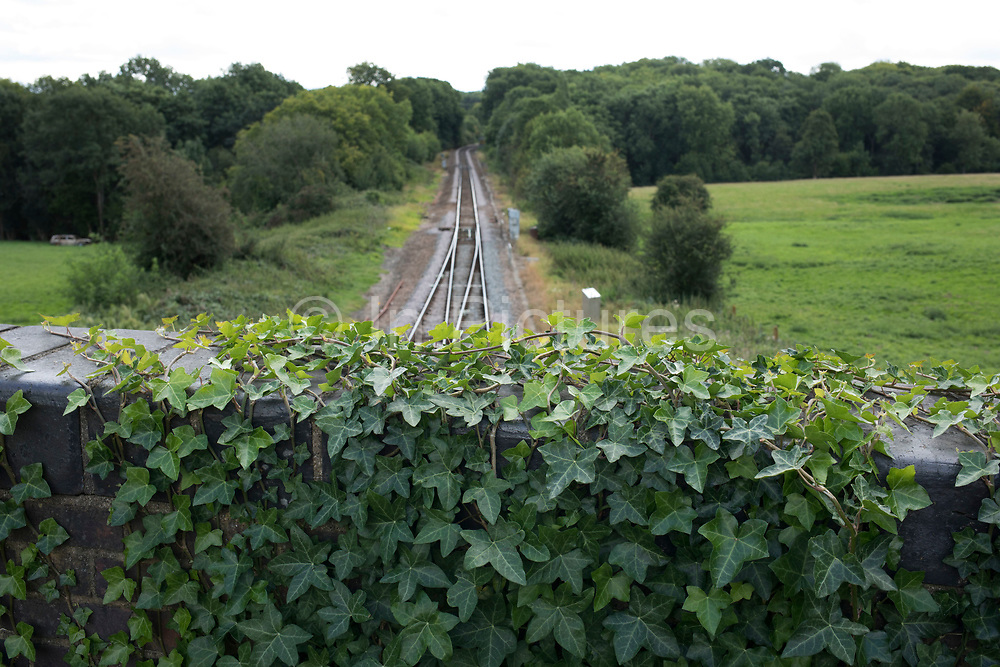 View looking along the tracks from the train station at Hever, England, United Kingdom.