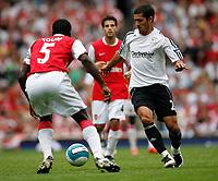Photo: Steve Bond.<br />Arsenal v Derby County. The FA Barclays Premiership. 22/09/2007. Benny Feilharber (R) takes on Kolo Toure
