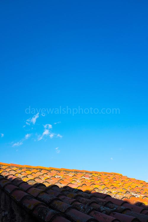 Tiled roof in Castelnou, Pyrenees Orientales, France