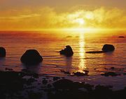 Misty Lake Michigan sunrise from Seul Choix Point, Upper Peninsula of Michigan.