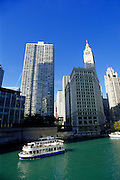 Image of the Chicago River along the Magnificent Mile, Chicago, Illinois, American Midwest by Andrea Wells
