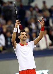 SHANGHAI, Oct. 13, 2018  Novak Djokovic of Serbia celebrates after winning the singles semifinal match against Alexander Zverev of Germany at 2018 ATP Shanghai Masters tennis tournament in Shanghai, east China, Oct. 13, 2018. Djokovic won 2-0. (Credit Image: © Fan Jun/Xinhua via ZUMA Wire)