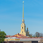 Saint Peter And Paul Cathedral Fortress On Neva River In Saint Petersburg, Russia