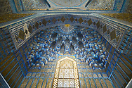 The traditional Persian architecture of Gur-e-Amir Mausoleum in Samarkand is a masterpiece. Inwardly the mausoleum appears as a large, high chamber with deep niches at the sides and diverse decoration. The lower part of the walls covered are by onyx slabs composed as one panel. Each of these slabs is decorated with refined paintings. Above the panel there is a marble stalactite cornice. Large expanses of the walls are decorated with painted plaster; the arches and the internal dome are ornamented by high-relief papier-mache cartouches, gilded and painted.