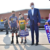 Democratic U.S. presidential nominee and former Vice President Joe Biden greets supporters outside after delivering remarks at Wisconsin Aluminum Foundry inManitowoc, Wisconsin, U.S., September 21, 2020.  REUTERS/Mark Makela