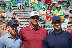 July 15, 2018 - Stateline, Nevada, U.S - Tournament leaders, JOE PAVELSKI, MARK MULDER and TONY ROMO, take a moment together before teeing off at the 29th annual American Century Championship at the Edgewood Tahoe Golf Course at Lake Tahoe, Stateline, Nevada, on Sunday, July 15, 2018. (Credit Image: © Tracy Barbutes via ZUMA Wire)