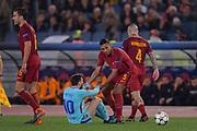 Foto Fabio Rossi/AS Roma/ LaPresse<br /> 10/4/2018 Roma (Italia)<br /> Sport Calcio<br /> Roma-FC Barcellona<br /> UEFA Champions League 2017/2018 - Stadio Olimpico di Roma<br /> Nella foto: Juan Jesus, Lionel Messi<br /> <br /> Photo  Fabio Rossi/AS Roma/ LaPresse<br /> 10/4/2018 Rome (Italy)<br /> Sport Football<br /> Roma-FC Barcelona<br /> UEFA Champions League  2017/2018 - Stadio Olimpico di Roma<br /> In the pic: Juan Jesus, Lionel Messi