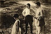 Sergei Kirov (1886-1934) early Bolshevik leader, centre, with Joseph Stalin and his daughtert Svetlana.