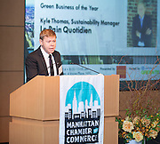 2014 Green Business of the Year honoree Kyle Thomas of  Le Pain Quotidien. Celebrating the business leaders in New York City, who have built outstanding businesses - contributing to the economy and community as well. The MCC Business Awards Breakfast is the Manhattan Chamber's premiere event adn was attended by over 250 entrepreneurs, business owners, executives and legislative leaders in New York City. (Photo: www.JeffreyHolmes.com)