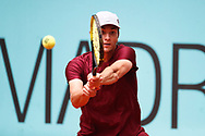Miomir Kecmanovic of Serbia in action during his Men's Singles match, round of 64, against John Isner of United States on the Mutua Madrid Open 2021, Masters 1000 tennis tournament on May 3, 2021 at La Caja Magica in Madrid, Spain - Photo Oscar J Barroso / Spain ProSportsImages / DPPI / ProSportsImages / DPPI