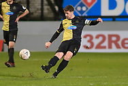 Marine midfielder Kenny Strickland (14) crosses the ball during the The FA Cup match between Marine and Tottenham Hotspur at Marine Travel Arena, Great Crosby, United Kingdom on 10 January 2021.